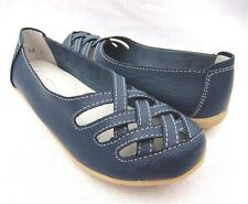 WOMENS Sz 7.8.9.10 BLUE Soft LEATHER FLATS Ballet Comfort Casual SHOES Work WALK