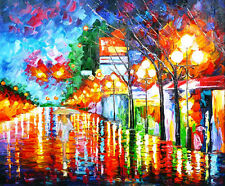 100% Hand-painted Modern Palette Knife Painting Rainy Night Canvas Art