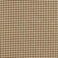 French Country Suede Brown Gingham Shower Curtain with Ruffle