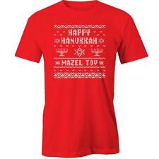 Happy Hanukkah Funny Ugly Sweater T-Shirt Christmas XMAS Gift Present Funny Sant
