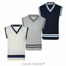 Mens Cricket Classic Cable Knitted Tank Top Stripe Sleeveless V Neck Vest S-XL