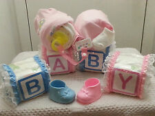 Alphabet Baby Blocks and Sleeping Baby Diaper Cake Gift Set Boy Girl Unisex