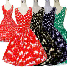 1940'S 1950'S VINTAGE STYLE LADIES RETRO SWING POLKA DOT ROCKABILLY TEA DRESS