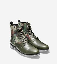 COLE HAAN LUNARGRAND LACE BOOT WATERPROOF camo green fatigue leather suede Milit