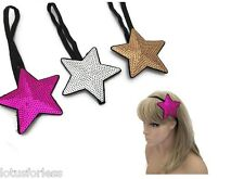 Large Sequin Star Browband Bandeaux Kylie Hair Band Ladies or Girls Metallic