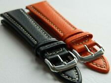 Genuine Calf Leather Padded Watch Strap Antiallergic Buckle Durable White Stitch
