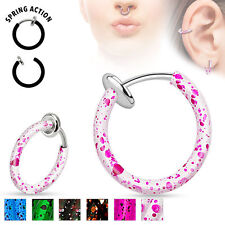 "Spring Action Non Piercing ""SPLATTER COLOR"" FAKE Cartilage Septum Nose Hoop Ring"