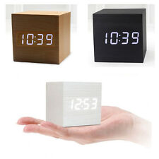 Modern Cube Wooden Wood Digital LED Desk Alarm Clock Thermometer Voice Control