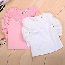Cute Baby Kids Girl Lace Cotton Long Sleeve T-shirt Tops Blouse Tee Shirt 0-2Y