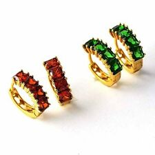Fashion Red Ruby Emerald Hoop Earrings Womens/Girls Yellow Gold Filled jewelry