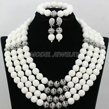 4-Row Carved Coral Beads Jewelry Set African Coral Silver Plated Necklace Set