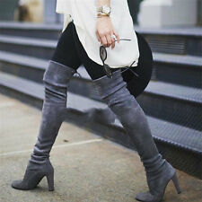 Womens Gray/Black Suede Round Toe Thigh High Over the Knee Boots Block High Heel