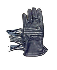 Motorcycle Gauntlet Leather Gloves Leather Black XS S M L XL 2X 3X Fringe