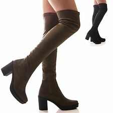LADIES WOMENS PLATFORM BOOTS OVER THE KNEE STRETCH BLOCK HIGH HEEL SHOES SIZE