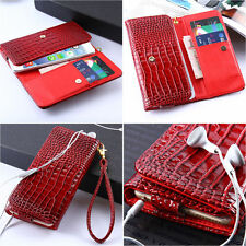 Leather Universal Handbag Purse Flip Pouch Wallet Case Cover For iPhone /Samsung