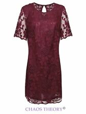 NEW WOMENS LADIES SHORT SLEEVE SHIFT PARTY FLORAL LACE DRESS SIZE 12-32