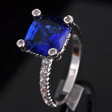 Wedding Party Woman Jewelry Sapphire Crystal S80 Silver Gemstone Ring size 6~9