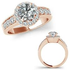 1.75 Carat G-H Diamond Solitaire Halo Wedding Bridal Ring Set 14K Rose Gold