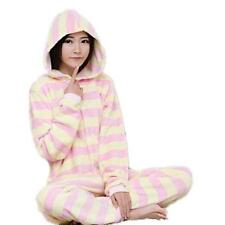 New Adult Costume Onesies Pyjamas Pajama Sleepwear Jumpsuit - Pink Yellow Stripe