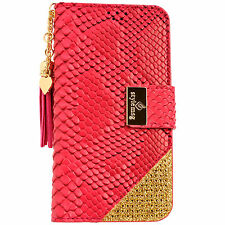 Womens Leather Flip Wallet Purse Case Credit Card Holder PINK Galaxy Note 3 4 5