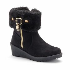 NEW! Juicy Couture Girls BLACK Faux-Fur Suede Boots - Gold Heart & Crown Charms