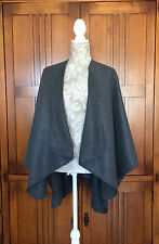 Fleece Shawl Wrap Ruana  Misses Onesize Charcoal Gray Topstitching 4 Colors