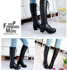 Fashion Women's Lace Up Chunky High Heels Cosplay Knee High Knight Boots Shoes