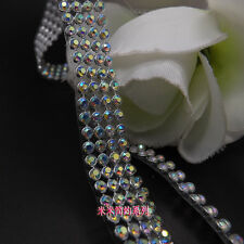 Clothes Appliques AB Clear Crystal Rope Chain Trim 3m Iron On Hotfix Rhinestone