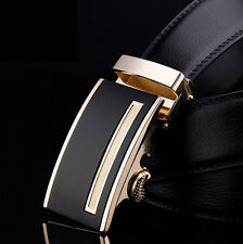 New Mens Belt Black Automatic Buckle Genuine Leather Waist Strap Business Belts