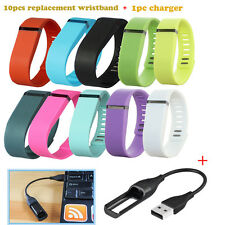 10 PC Replacement Wrist Band+1PC USB Charger For Fitbit Flex Bracelet No Tracker