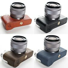 Genuine real Leather Half Camera Case Camera bag cover for CANON EOS-M10 4 Color