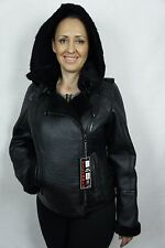 Black 100% Shearling Leather Sheepskin Moto Bomber Aviator Jacket Coat XS - 6XL