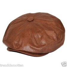 Flat Cap BROWN Imitation leather NEWSBOY Hat XS-XXL Peaked cap retro