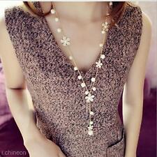 Women Vintage Jewelry Long Simulated Pearl Necklace Flower Sweater Chain Pendant