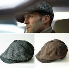 Wool Tweed Cabbie Newsboy Gatsby Cap Mens Ivy Hat Golf Driving Winter Cold Flat