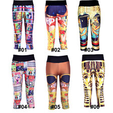 Women Sport Athletic Gym Workout Fitness Yoga Wall Painting Leggings Pants Plus