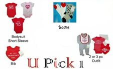 Valentines Day 1st Outfit Holiday Heart Bodysuit Shirt Pants Creeper Baby Bib
