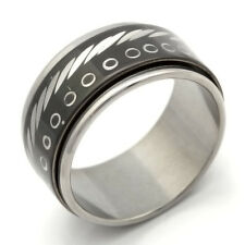 fashion jewelry Mens&Womens Stainless Steel Black Band Ring size 7 8 9 10 11