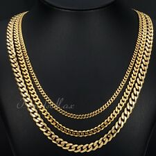 3/5/7mm MENS Boy Chain Gold Tone Curb Link Stainless Steel Necklace 18-36inch