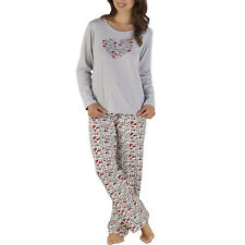 Love Heart Print Ladies PJs Set Slenderella Gaspe Polycotton Nightwear Pyjamas
