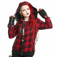 Poizen Industries Z Jacket Ladies Red Check Goth Emo Punk Girls