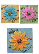 Daisy/Ladybug Metal Sign Wooden Wall Hanging Square Plaque Garden Home Decor