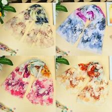 Women's Wrap Lady Shawl Chiffon Scarf Floral Pashmina Colorful Beach Long PP3M