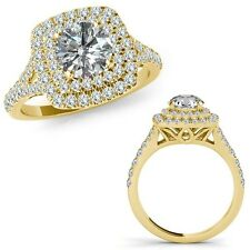 1 Carat G-H Diamond Double Cushion Halo Engagement Band Ring 14K Yellow Gold