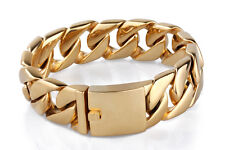23MM Boys Mens Chain Curb Link Gold Tone 316L Stainless Steel Bracelet HEAVY DIY