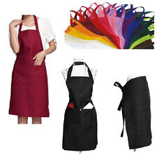 Plain Apron Front Pocket Chef Butchers Kitchen Cooking Craft Bib Home Restaurant