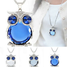 Women Owl Rhinestone Crystal Pendant Long Sweater Chain Necklace Jewelry Fashion