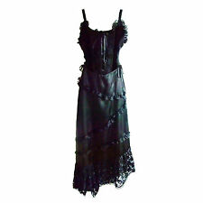"""Gothic Dress by """"Raven"""" with Diagonal Lace Trimmed Skirt & Hemline (was £55)"""