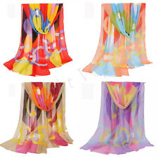 Fashion Colorful Lady Women Long Soft Wrap Lady Shawl Silk Chiffon Scarf 54