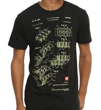 Lego TOY BUILDING BRICK PATENT BLUEPRINT T-Shirt NWT Licensed & Official
